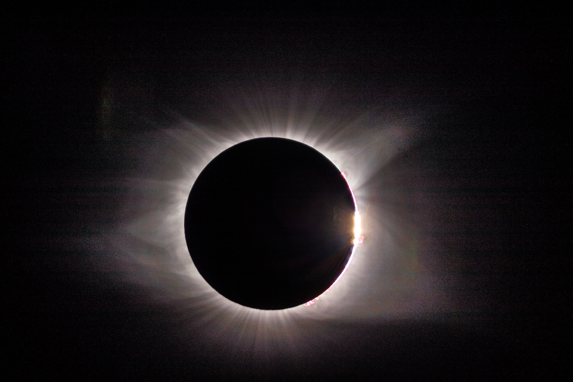 The Diamond Ring with solar flares from eclipse 2017 by Kevin Ames